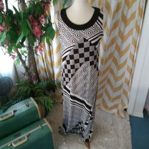 Chicos Travelers Size 1 Cream Brown maxi dress
